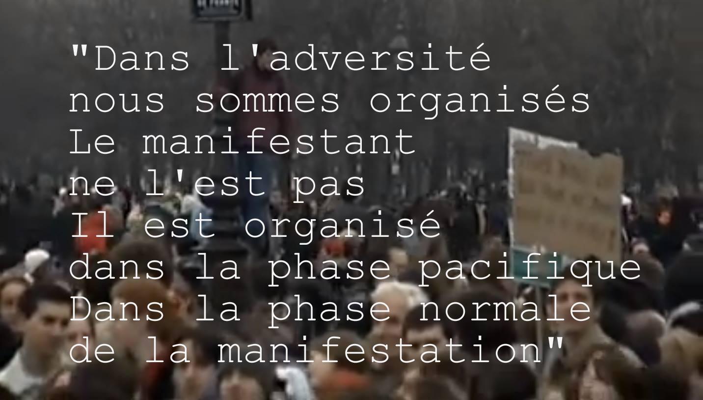 03.Dans ladversite nous sommes organises Le manifestant ne lest pas Il est organise dans la phase pacifique Dans la phase normale de la manifestation