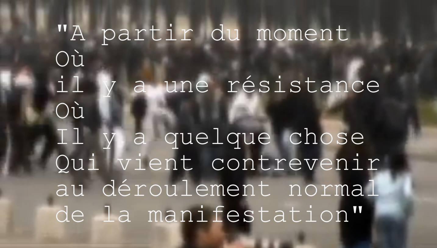 05.A partir du moment Ou il y a une resistance Ou Il y a quelque chose Qui vient contrevenir au deroulement normal de la manifestation